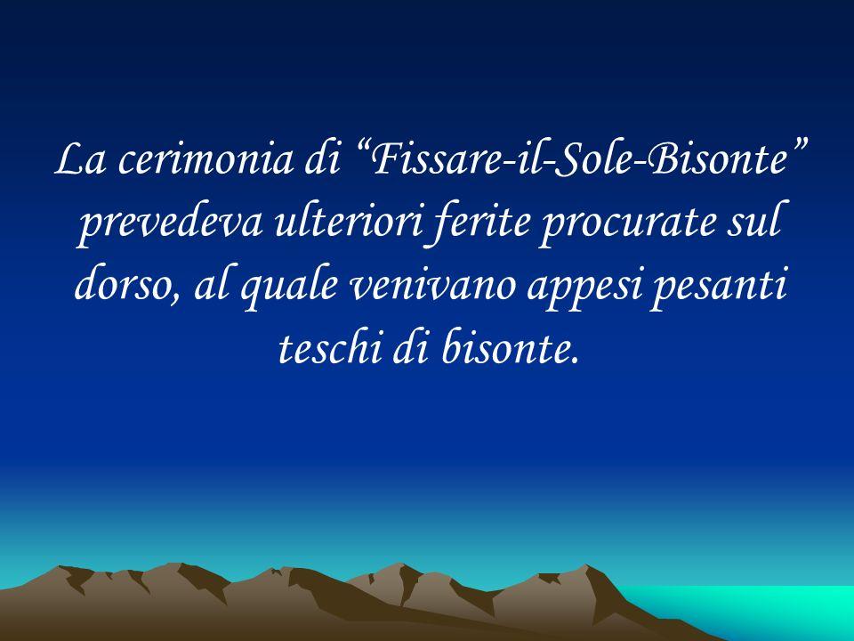 La cerimonia di Fissare-il-Sole-Bisonte prevedeva ulteriori ferite procurate sul dorso, al quale venivano appesi pesanti teschi di bisonte.