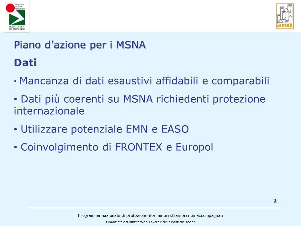 Piano d'azione per i MSNA Dati