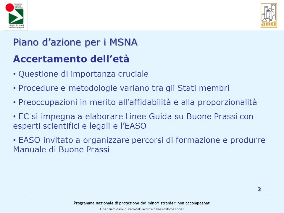 Piano d'azione per i MSNA Accertamento dell'età