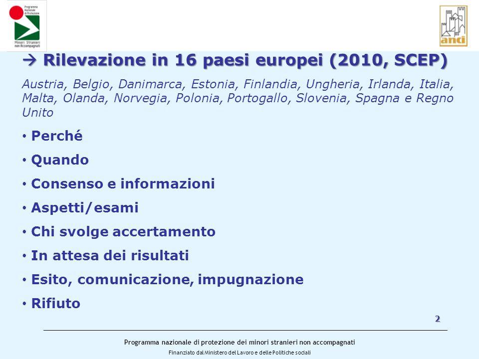  Rilevazione in 16 paesi europei (2010, SCEP)