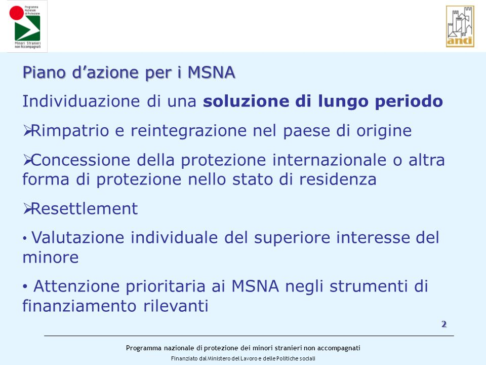 Piano d'azione per i MSNA