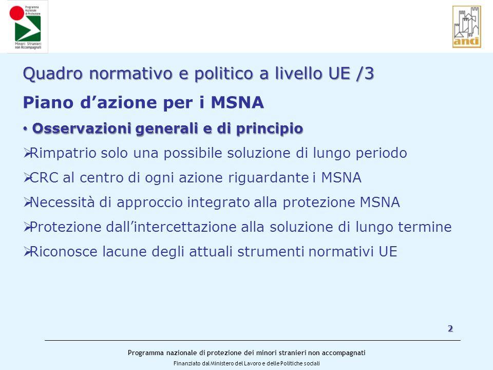 Quadro normativo e politico a livello UE /3 Piano d'azione per i MSNA
