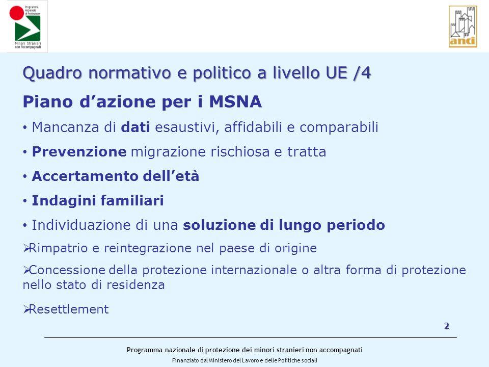 Quadro normativo e politico a livello UE /4 Piano d'azione per i MSNA