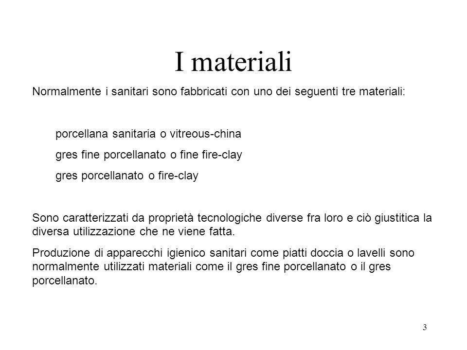 I materiali Normalmente i sanitari sono fabbricati con uno dei seguenti tre materiali: porcellana sanitaria o vitreous-china.