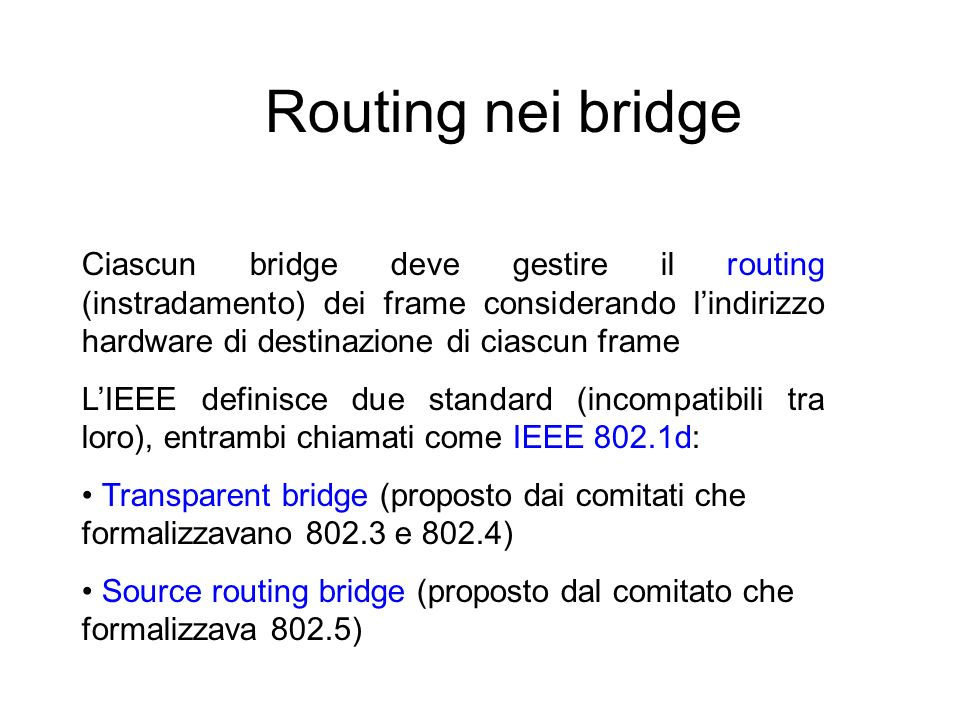 Routing nei bridge