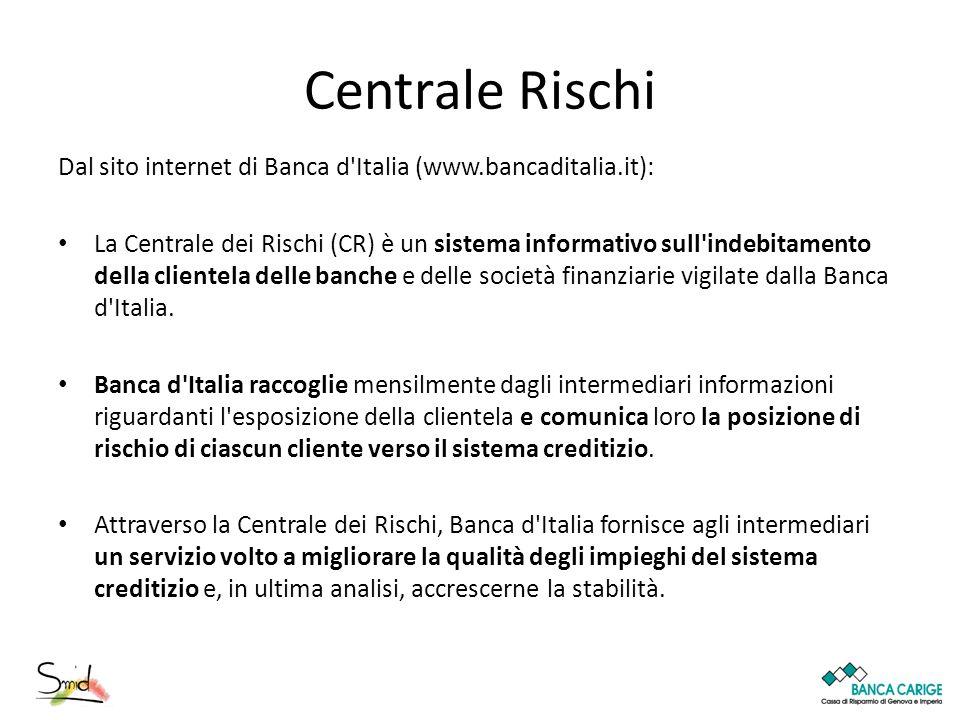 Centrale Rischi Dal sito internet di Banca d Italia (www.bancaditalia.it):