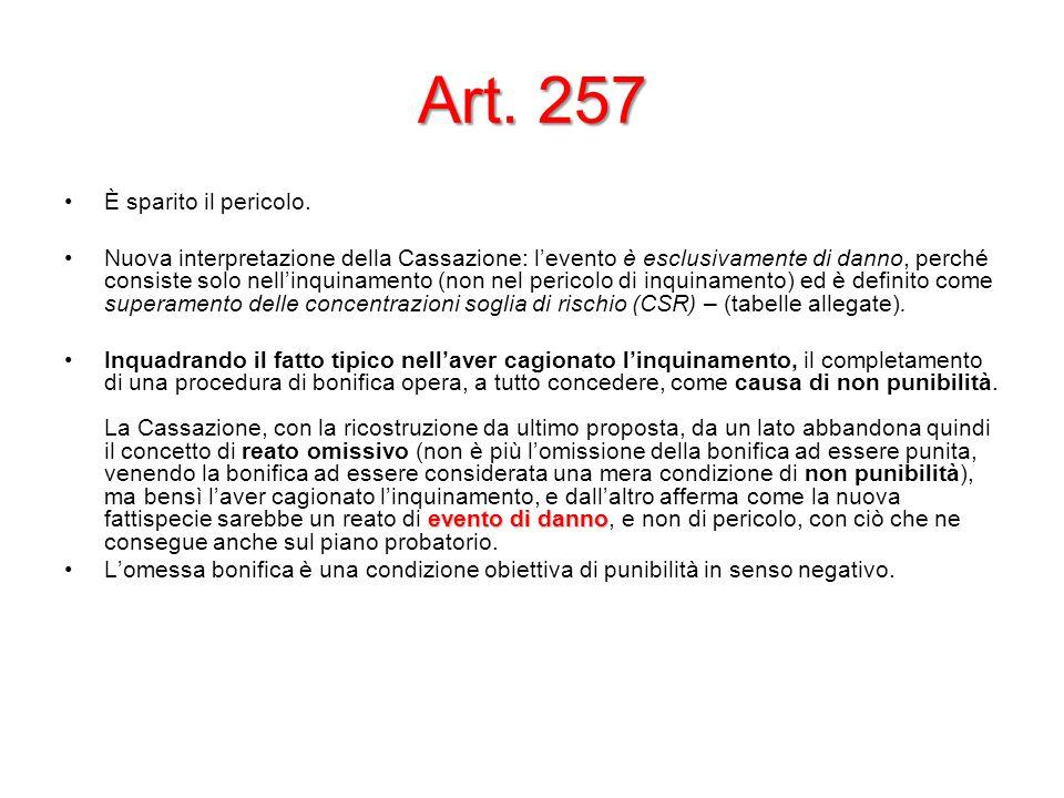 Art. 257 È sparito il pericolo.