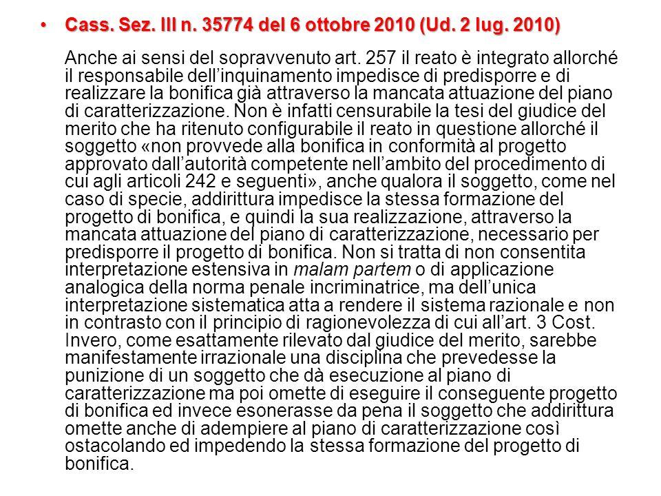Cass. Sez. III n. 35774 del 6 ottobre 2010 (Ud. 2 lug