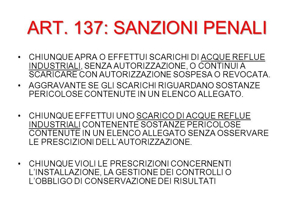 ART. 137: SANZIONI PENALI