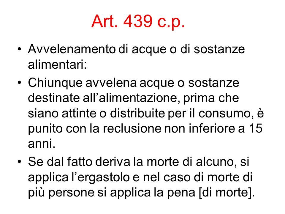 Art. 439 c.p. Avvelenamento di acque o di sostanze alimentari: