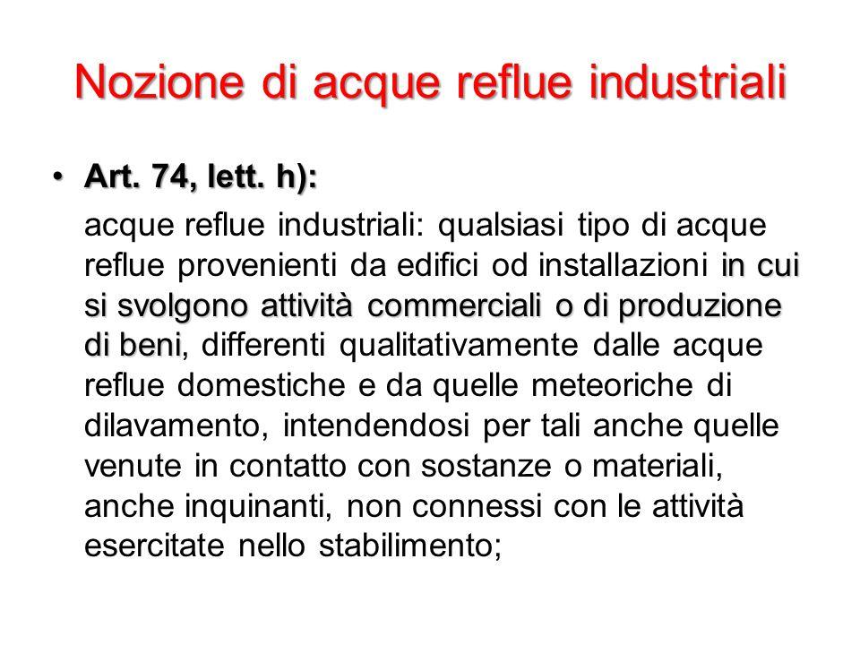 Nozione di acque reflue industriali