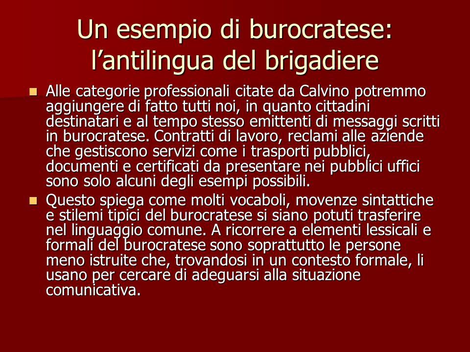 Un esempio di burocratese: l'antilingua del brigadiere