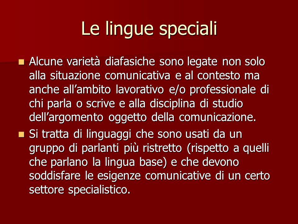 Le lingue speciali