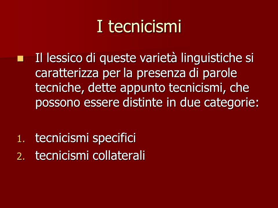 I tecnicismi
