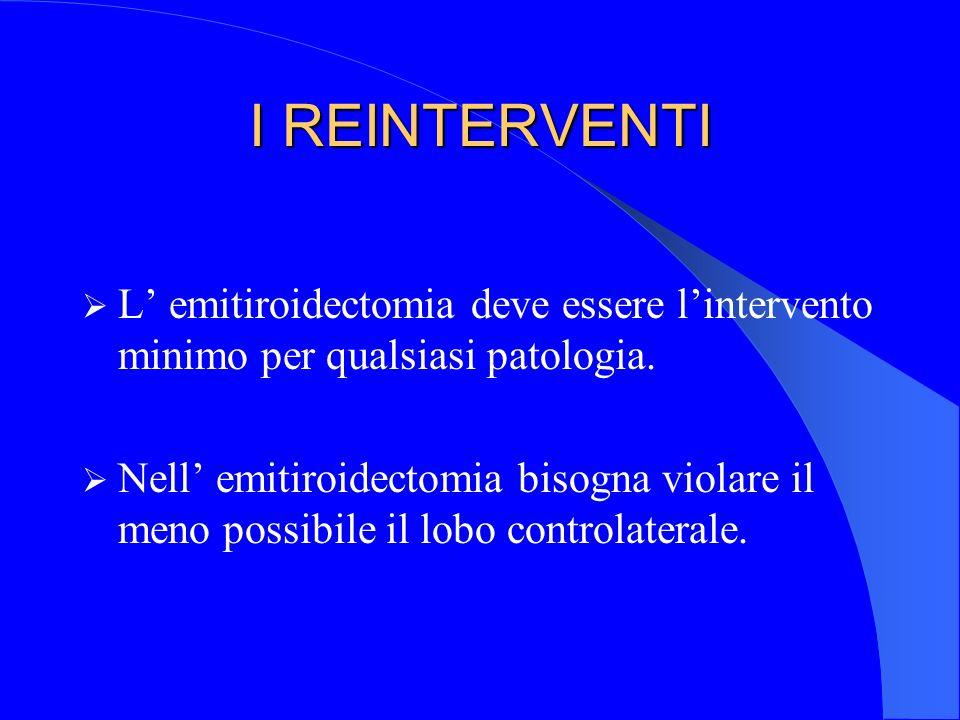 I REINTERVENTI L' emitiroidectomia deve essere l'intervento minimo per qualsiasi patologia.