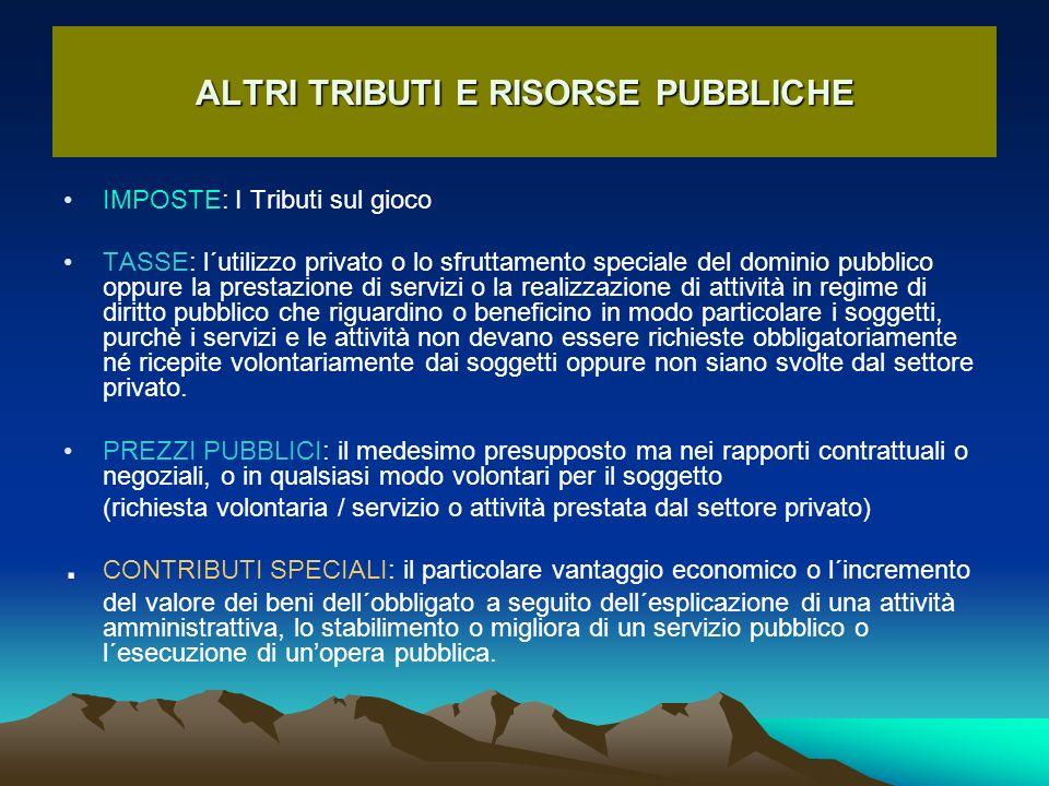 ALTRI TRIBUTI E RISORSE PUBBLICHE