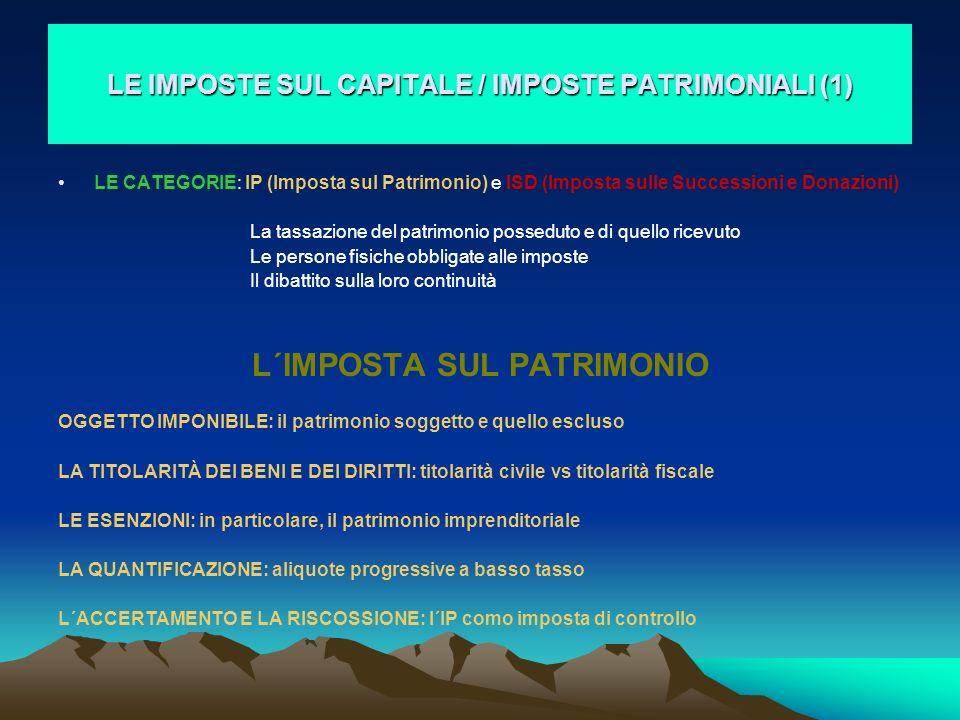 LE IMPOSTE SUL CAPITALE / IMPOSTE PATRIMONIALI (1)