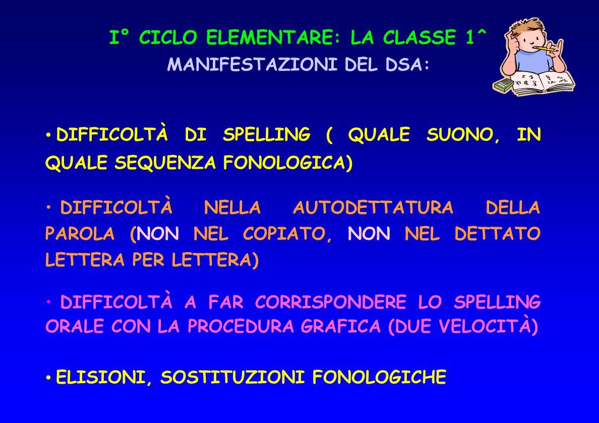 I° CICLO ELEMENTARE: LA CLASSE 1^ MANIFESTAZIONI DEL DSA: