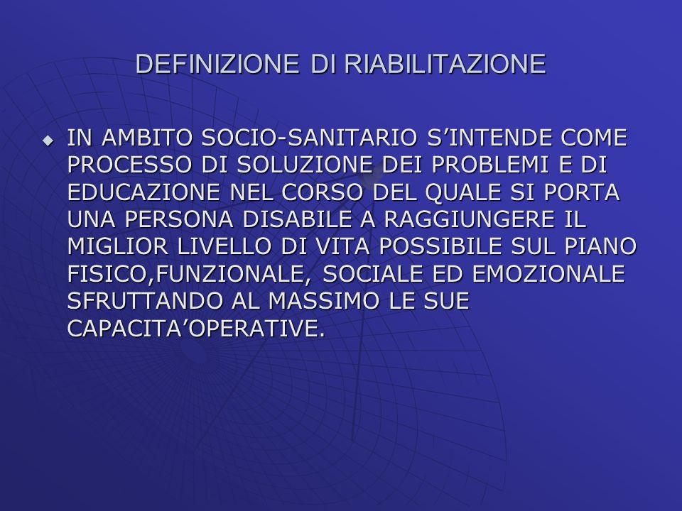 DEFINIZIONE DI RIABILITAZIONE