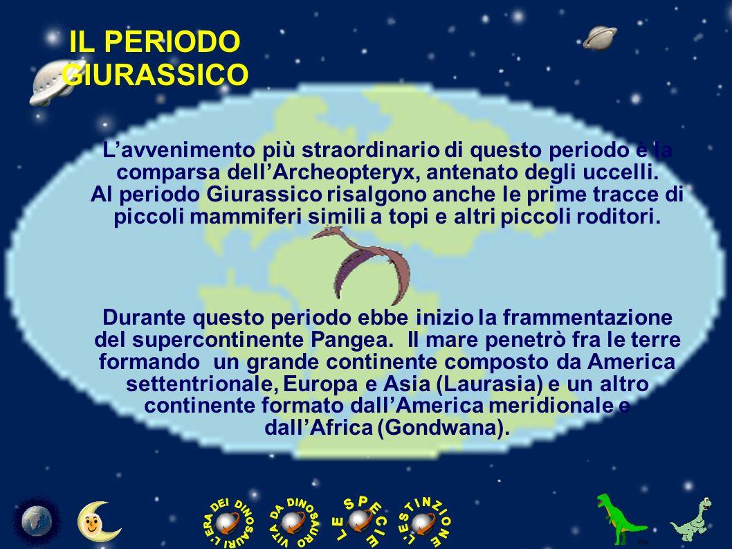IL PERIODO GIURASSICO L'avvenimento più straordinario di questo periodo è la. comparsa dell'Archeopteryx, antenato degli uccelli.