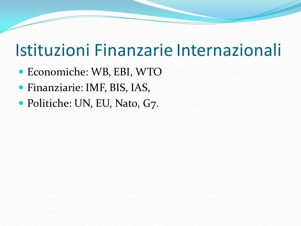 Istituzioni Finanzarie Internazionali