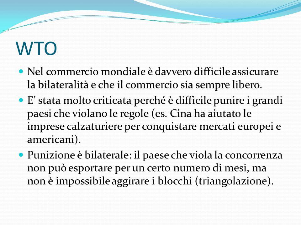 WTO Nel commercio mondiale è davvero difficile assicurare la bilateralità e che il commercio sia sempre libero.