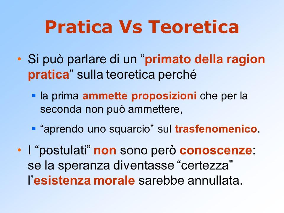 Pratica Vs Teoretica Si può parlare di un primato della ragion pratica sulla teoretica perché.