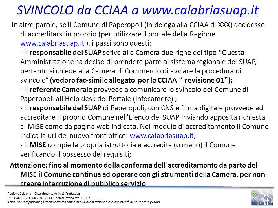 SVINCOLO da CCIAA a www.calabriasuap.it