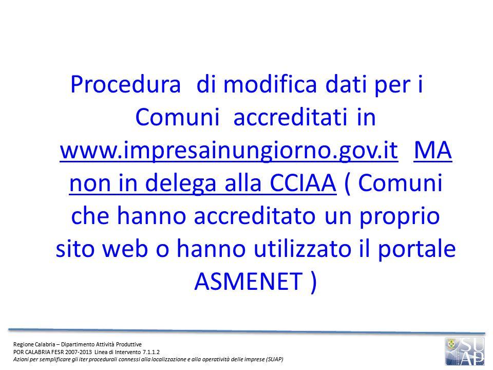 Procedura di modifica dati per i Comuni accreditati in www