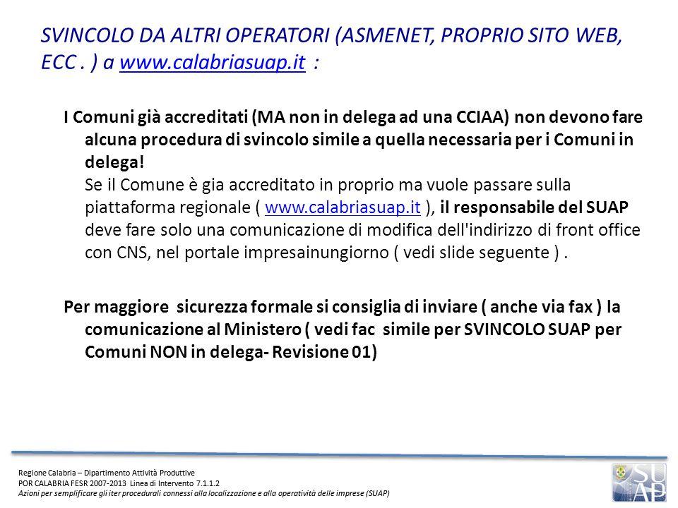 SVINCOLO DA ALTRI OPERATORI (ASMENET, PROPRIO SITO WEB, ECC. ) a www