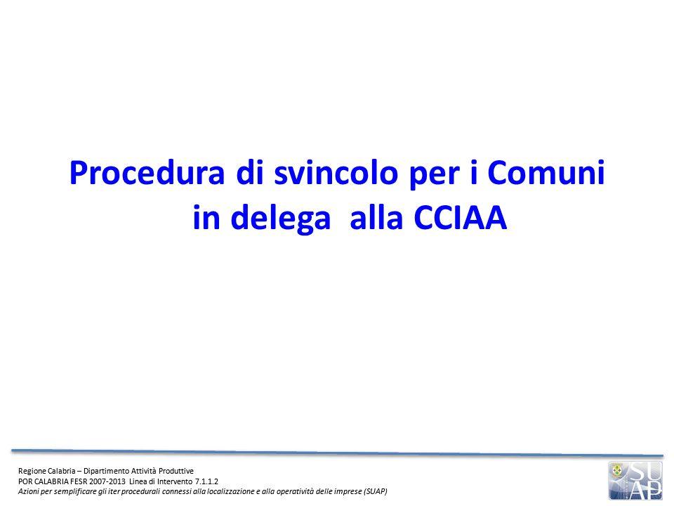 Procedura di svincolo per i Comuni in delega alla CCIAA