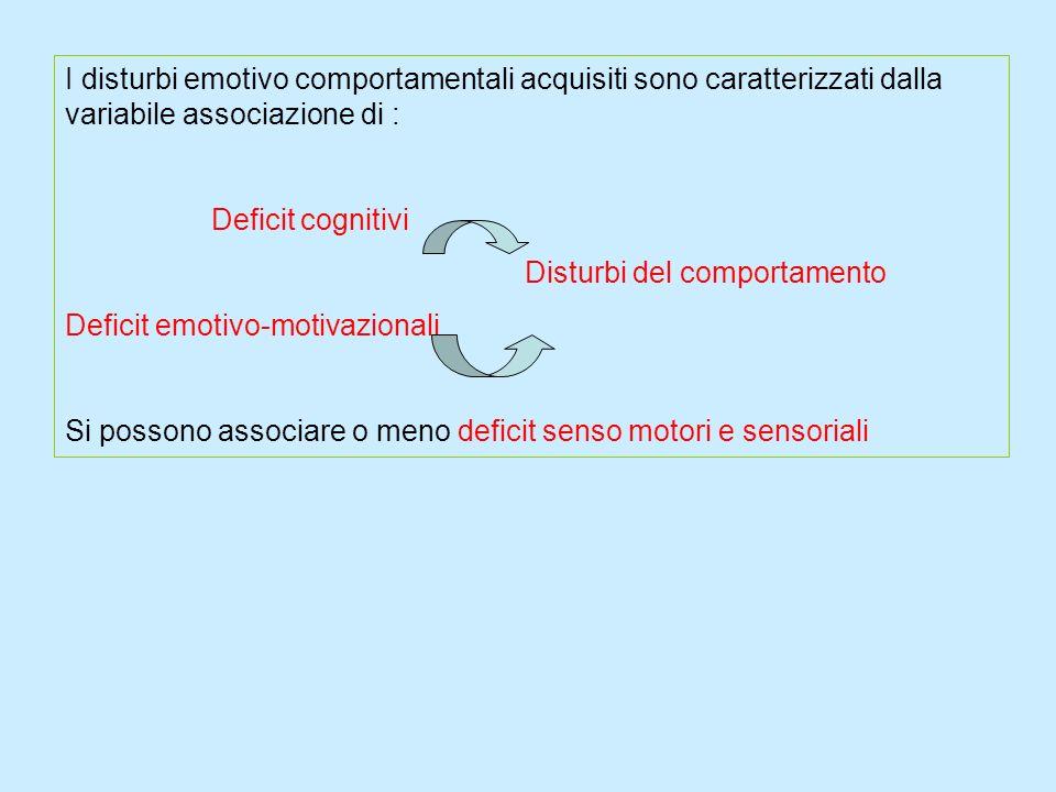 I disturbi emotivo comportamentali acquisiti sono caratterizzati dalla variabile associazione di :