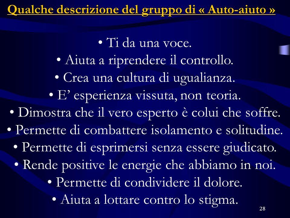 Qualche descrizione del gruppo di « Auto-aiuto »