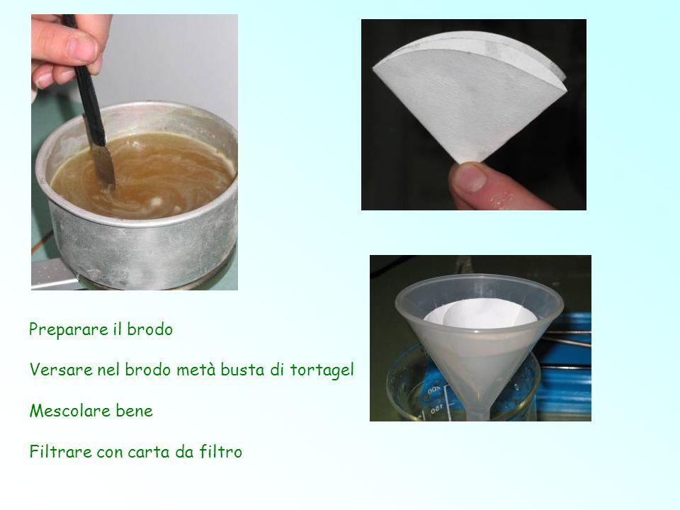 Preparare il brodo Versare nel brodo metà busta di tortagel.