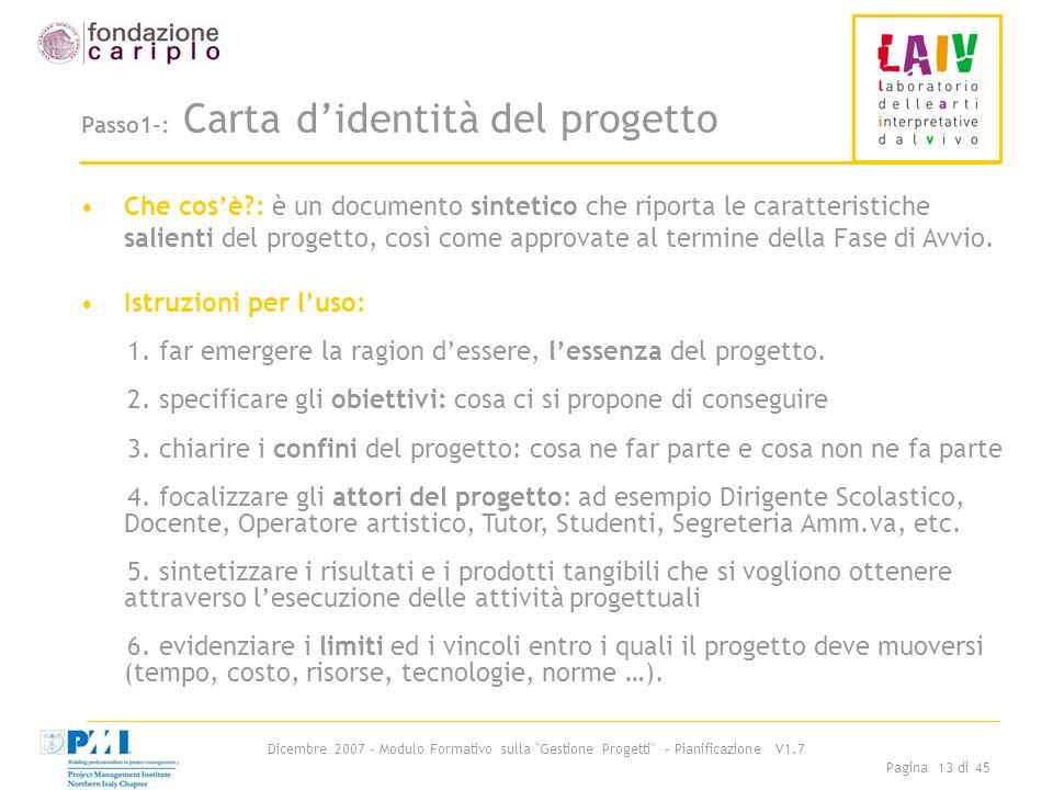 Passo1-: Carta d'identità del progetto