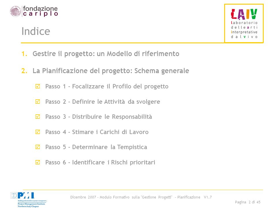 Indice Gestire il progetto: un Modello di riferimento