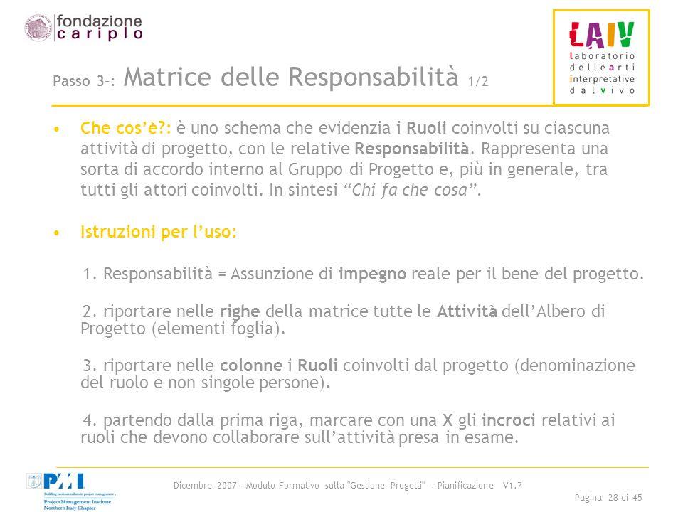 Passo 3-: Matrice delle Responsabilità 1/2