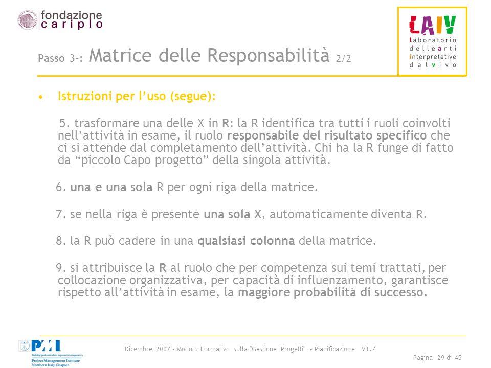 Passo 3-: Matrice delle Responsabilità 2/2