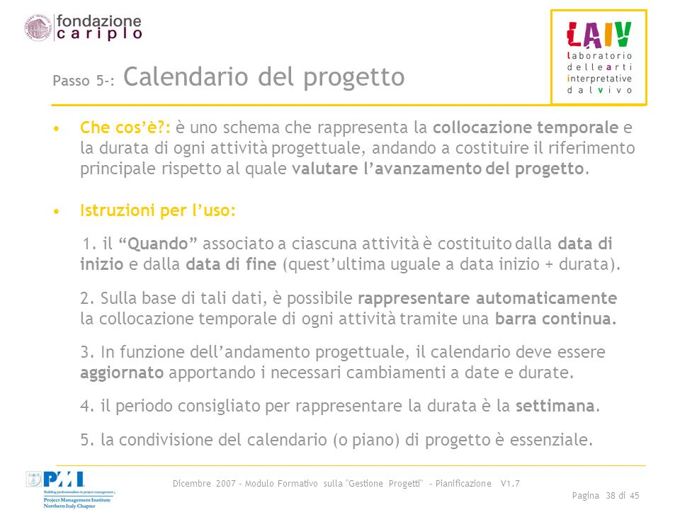 Passo 5-: Calendario del progetto