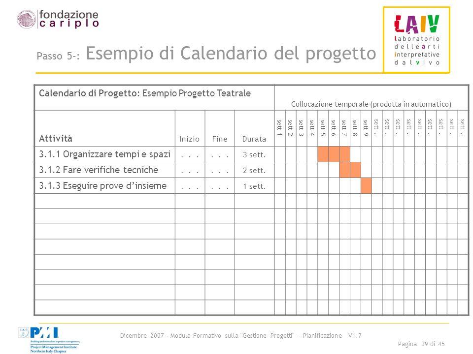 Passo 5-: Esempio di Calendario del progetto