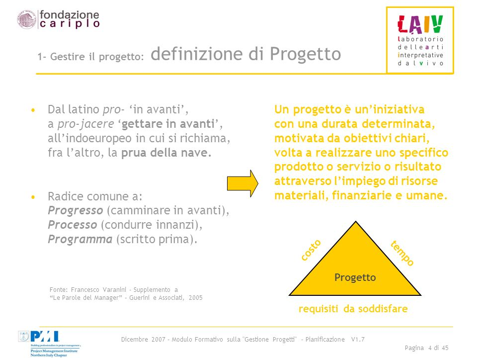 1- Gestire il progetto: definizione di Progetto