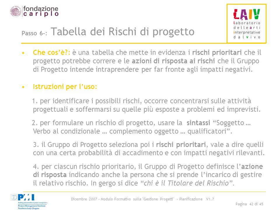 Passo 6-: Tabella dei Rischi di progetto