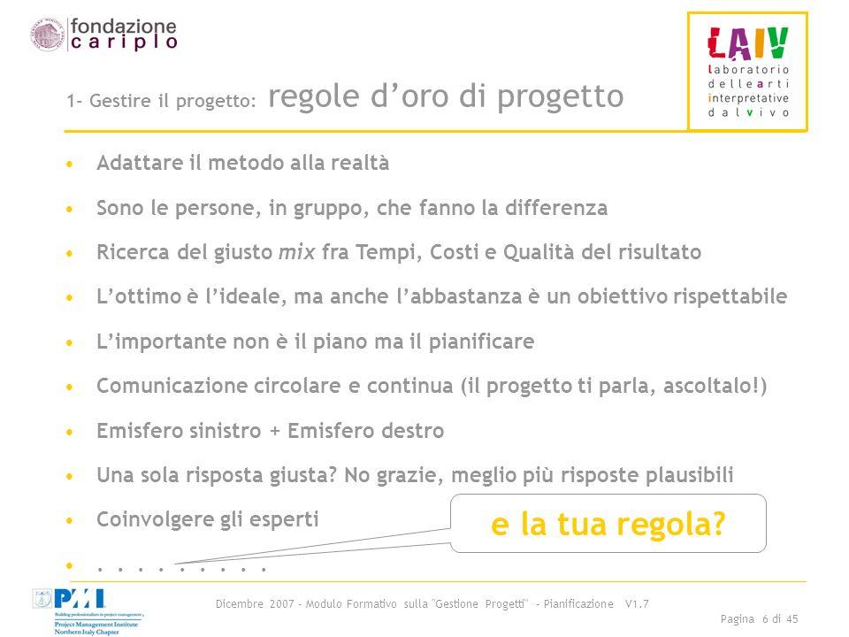 1- Gestire il progetto: regole d'oro di progetto