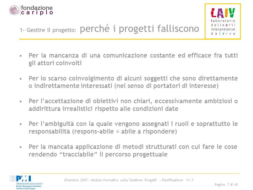 1- Gestire il progetto: perché i progetti falliscono
