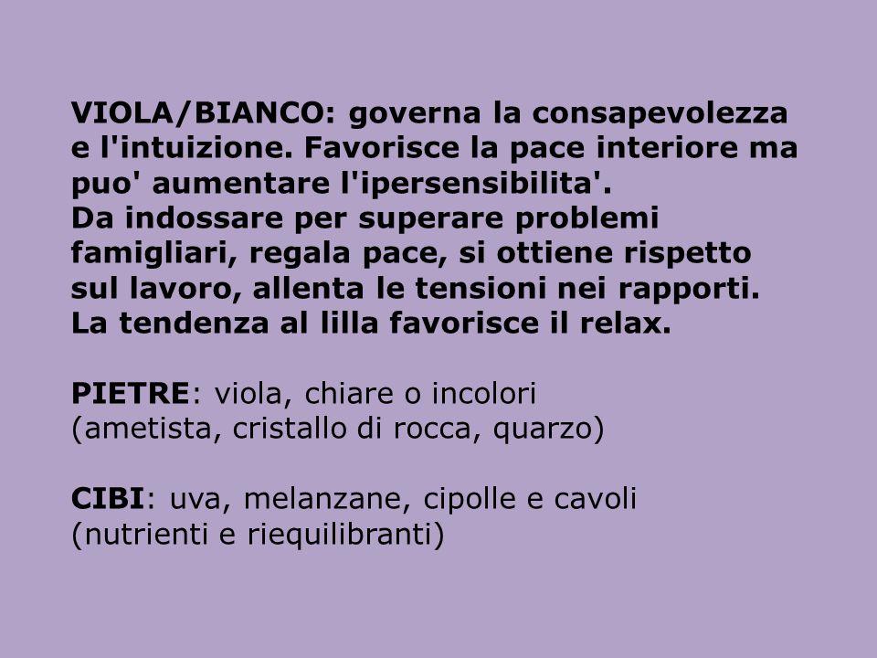 VIOLA/BIANCO: governa la consapevolezza e l intuizione