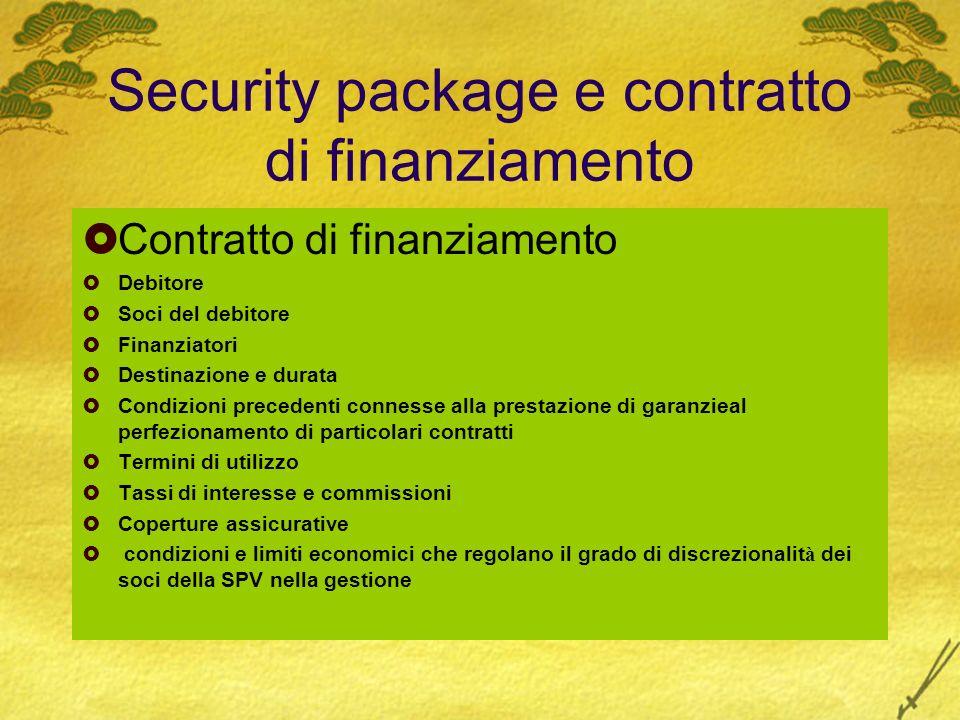 Security package e contratto di finanziamento