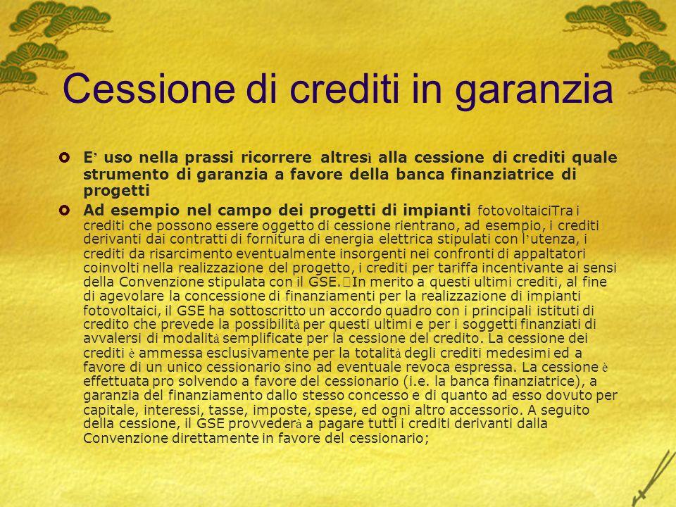Cessione di crediti in garanzia