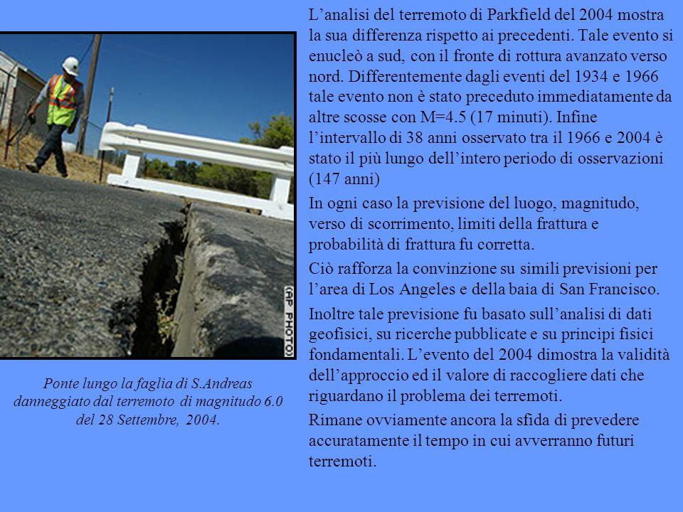 L'analisi del terremoto di Parkfield del 2004 mostra la sua differenza rispetto ai precedenti. Tale evento si enucleò a sud, con il fronte di rottura avanzato verso nord. Differentemente dagli eventi del 1934 e 1966 tale evento non è stato preceduto immediatamente da altre scosse con M=4.5 (17 minuti). Infine l'intervallo di 38 anni osservato tra il 1966 e 2004 è stato il più lungo dell'intero periodo di osservazioni (147 anni)