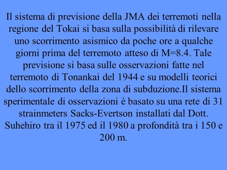 Il sistema di previsione della JMA dei terremoti nella regione del Tokai si basa sulla possibilità di rilevare uno scorrimento asismico da poche ore a qualche giorni prima del terremoto atteso di M=8.4.