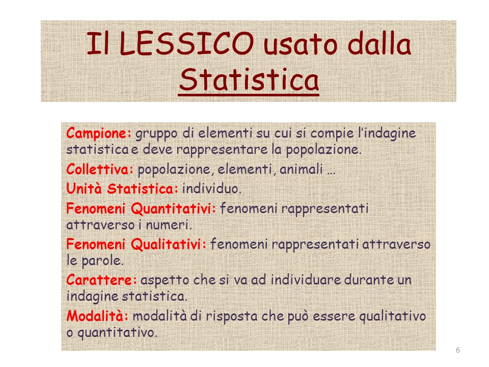 Il LESSICO usato dalla Statistica